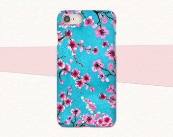 Pink Cherry Blossoms on Blue iPhone 8 Case, Floral iPhone X Case, Flower iPhone 7 Case, for iPhone 6S, Phone Case iPhone 8 Plus, Flowers, 8+