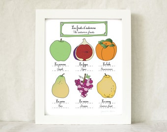 Kitchen Art Autumn Fall Fruits illustration 8x10 art print home decor French Retro Kitchen Food nature garden botanical chart Mothers Day