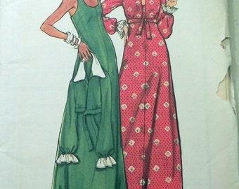"1970s Maxi Sleeveless Sundress dress and Jacket House Coat sewing pattern Butterick 3615 Size 5 6  Bust 28"" UNCUT"