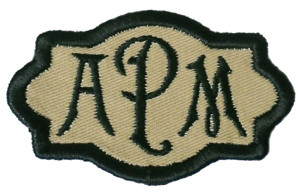 Customize Embroidered Carson Font Name Initial Monogram Iron On Applique  Patch Khaki Tan Twill Fabric