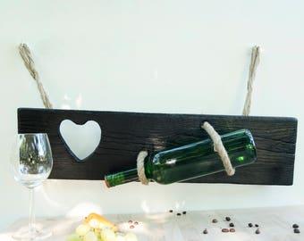 Handmade wooden wine hanger