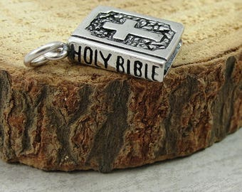 Holy Bible Charm - Sterling Silver Bible Charm for Necklace or Bracelet