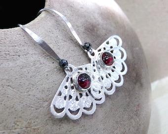 Garnet Earrings, Red Earrings, Sterling Silver Earrings, Fan Earrings, Red Gemstone Earrings, Red Silver Earrings, Long - Spanish Sangria
