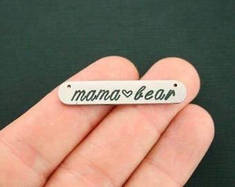 2 Mama Bear Connector Charms Stainless Steel Bar Charm - MT066