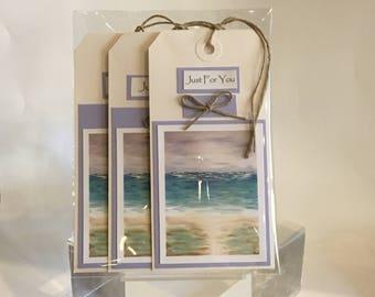 Handmade gift tags, set of 3 tags, all occasion tags, original art print, Beach Print, Morning Walk