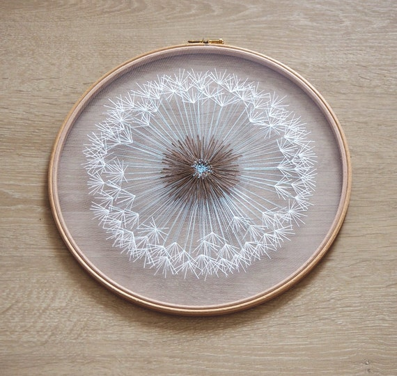 Large Dandelion Tulle Embroidery Hoop Art Bohemian Wedding