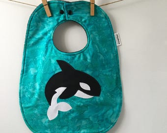Orca Baby Gift - Killer Whale Baby Shower - Orca Bib - Ocean Baby Shower - Ocean Nursery - Orca Baby Bib - Gender Neutral Baby Shower Gift