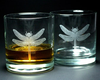 Dragonfly Lowball Glasses - Set of 2