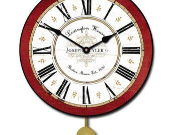Vermont Red Pendulum Wall Clock