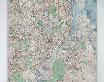 Map of Copenhagen, large canvas, city maps, watercolor map, vintage map, antique map, city maps, map art, city map art, wall art, map decor