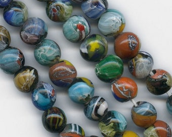 Vintage Venetian style millefiore beads from India 12mm. Pkg of 4. b1-483b