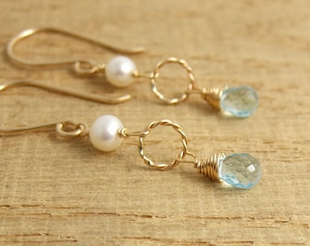 Earrings with Pearls, Braided Loops and Blue Topaz Teardrops Wire Wrapped with Gold Filled Wire GHE-35