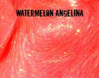 Watermelon Angelina Fiber 1/4 oz - add sparkle and bling to your spinning!