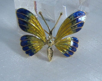 Vintage 14kt Yellow Gold Enameled Butterfly Brooch