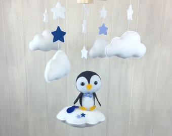 Baby mobile - penguin mobile - cloud babies collection - cloud mobile - star mobile - nursery mobile - penguins