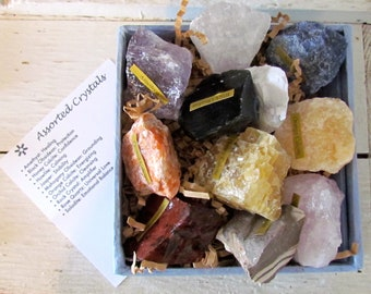 RAW CRYSTALS-11 assorted raw crystals-2 to 3 inches-different healing properties, colors, sizes, stones