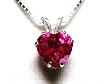 "Pink topaz pendant, pink topaz, topaz pendant, heart pendant, hot pink, hot pink jewelry, ""Cherry Bomb"""