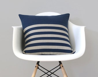 Breton Stripe Patterned Pillow Cover in Navy Blue and Natural Linen by JillianReneDecor (18x18) Nautical Home Decor - Striped Pillow