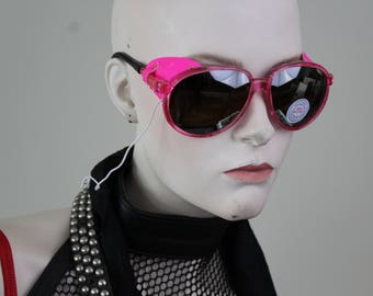 vintage plastic and rubber sunglasses - vibrant pink