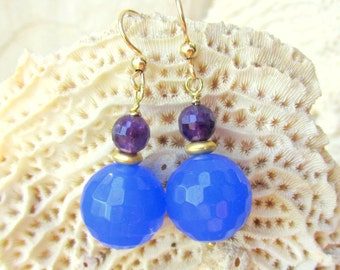 Amethyst & Blue Chalcedony Earrings with Gold Vermeil - Faceted Gemstones HANDMADE Jewelry