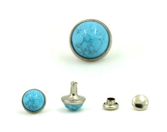 Turquoise Blue Synthetic Rapid Rivet Studs Leather Craft Supplies 9 mm. 60 Sets.