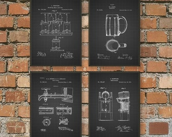 Beer Brewing Patent Prints Set of 4 - Beer Poster - Beer Art - Beer Wall Art - Beer Patent Print - Beer Brewing Posters