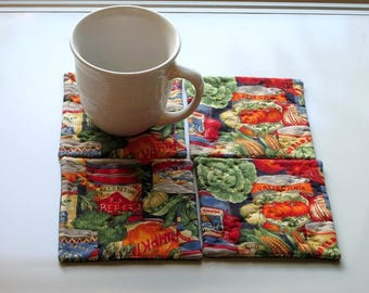 vegetables set of hand quilted mug rugs coasters