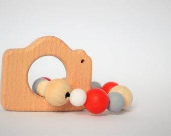 Teething rattle teething toy animal teether shaped rattle sensory
