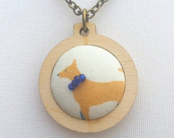 Dog pendant jewellery in mini embroidery hoop, antique bronze colour 32/18 inch chain mental health awareness beaded dog collar jewelry OOAK