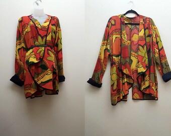 Vintage Oversized Jacket / 90s Abstract Floral Print Oversized Jacket