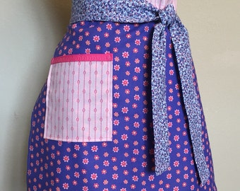 New Pink and Purple Floral Half Apron with Pocket