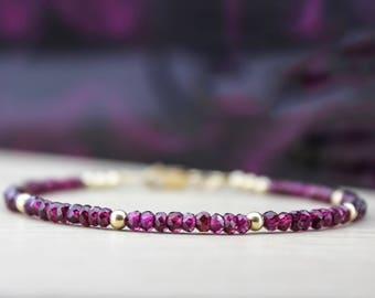 GARNET BRACELET/Garnet Bracelet In Gold/Garnet and Gold Bracelet/January Birthstone Bracelet/Gemstone Stacking Bracelet/