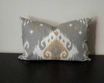 Decorative Throw Pillow, 12x16,12 x18 Lumbar Pillow, Gray and White Ikat Pillow,  Ikat Pillow,Toss Pillow, Accent Pillow, Sofa Pillow