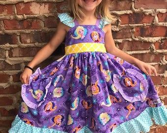Girls Toddler Disney Frozen Anna and Elsa Ruffle Twirl 2 pocket dress  9 12 18 24 2T 3T 4T 5T 6 6x 7 8