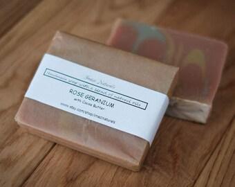 Rose Geranium Handmade Soap Cocoa Butter Natural Vegan Soap Traditional 100g