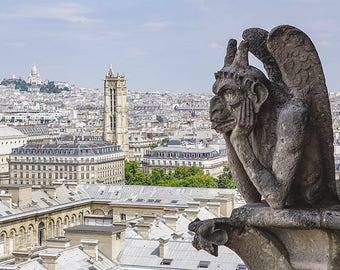 Notre Dame Cathedral Gargoyle, Paris.  Digital Photography Instant Download