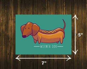 Wiener Dog Print Dachshund Doxie Doxies Hot Dog Art