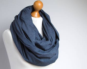 Oversized Infinity Scarf, NAVY BLUE infinity scarf, Chunky large cotton snood, hooded circle Scarf, extra Large Jersey Infinity scarf