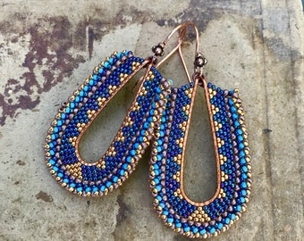 Gold and Blue Geometric Earrings