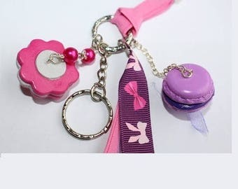Jewelry bag, plum macaron and rose flower key fob, plum ribbon bow