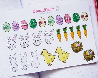 Easter Set Planner Stickers | Stationery for Erin Condren, Filofax, Kikki K and scrapbooking