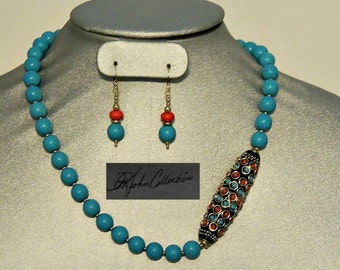 Ready For Spring Robin Egg Blue Turquoise & Tibetian Pendant Necklace and Earring,  Free Shipping within US.