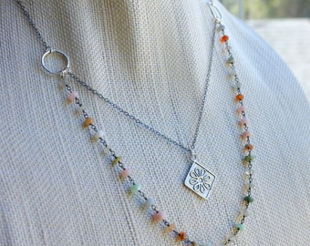Two Strand Necklace, Peruvian Opal Sterling Silver, Flower Pendant, Gemstone Chain, Boho Chic Colorful Tiny Gemstone, Sundance Style Jewelry