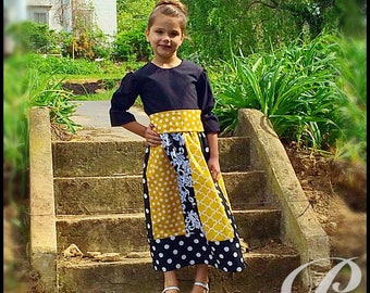 GIRLS YELLOW DRESS mustard polka dot dress striped dress panel skirt modest girls dress apostolic clothing