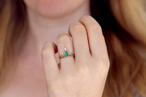 Pear Emerald Wedding Set Alternative Wedding Ring Set Black