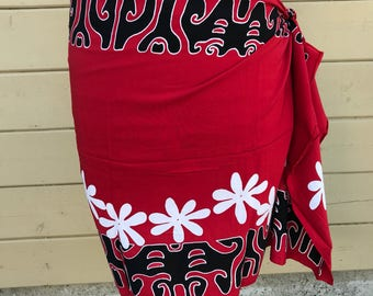 Tattoo Tiare half sized Tahitian dance costume pareo red, black, and white