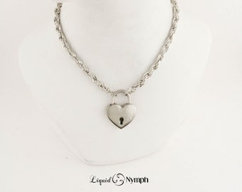 Romantic Gift Locking Necklace Intricate Chain Heart PadLock - Choker Chain Locking Chain Heart Lock Pendants DDLG BDSM Discreet Day Collar