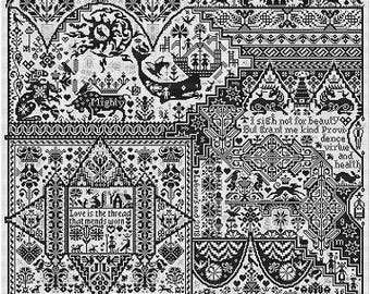 """LONG DOG SAMPLERS Life After """"Death"""" counted cross stitch pattern at thecottageneedle.com companion 2 Death by Cross Stitch blackwork"""