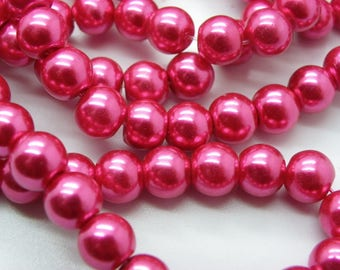 50 8 mm mother of Pearl 8 mm Fuchsia glass beads