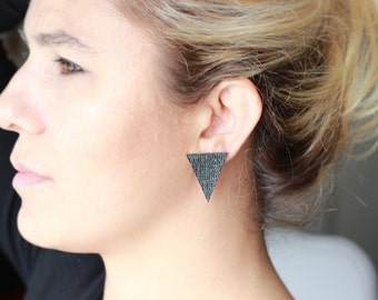 Big Triangle Stud Earrings in Sterling Silver / Turquoise Gems / Black Zirconia / Big Stud /Pair